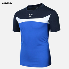 LINGSAI Summer Style T Shirt New Soccer Jersey Running Quick Dry Slim Fit T-shirts Short-Sleeve top Sports t shirt For Men XXXL(China)