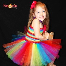 Keenomommy Girls Rainbow Tutu Dress and Daisy Hair Clip Set Handmade Birthday Party Dress Halloween Christmas Costume TS126(China)