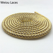 Weiou Black/Gold Rope Laces~Sneaker Shoe Laces~Metallic Yarn Polyester Hiking Boot Laces Casual Sports Shoelaces Custom Length(China)