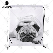 cute pug black and white Print Custom individual Nylon Fabric Drawstring Shoes Storage Dust Bag Pack of 4