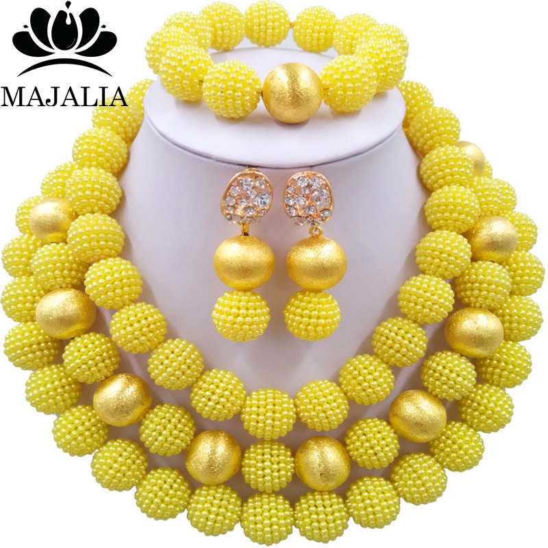 Nigerian Wedding African Beads Jewelry Set Simulated Pearl Necklace New Picture (15)