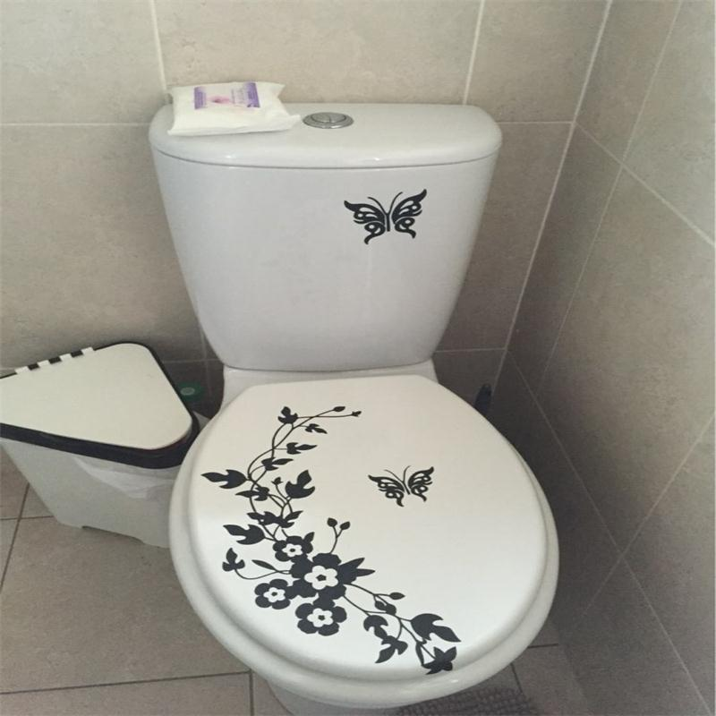 Decorative Butterfly Flower vine bathroom vinyl wall stickers home decoration wall decals for toilet sticker(China (Mainland))