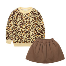 Children Girls Clothing Set Winter 2017 Leopard Print Kids Clothes Brand Sport Suit Tracksuit for Girls Toddler Tshirt + Skirt