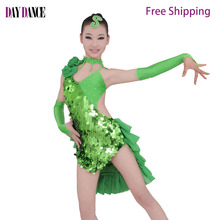 Buy Girls Kids Sequin Latin Dance Performance Dance Wear Sexy Competition Costumes Red Blue Green Stage Dance Clothing for $45.22 in AliExpress store