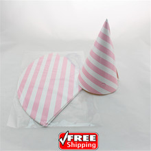 24pcs Choose Your Colors Baby Pink Striped Paper Party Hats Wholesale-Kids Girl Shower Birthday Wedding Decoration Party Caps(China)