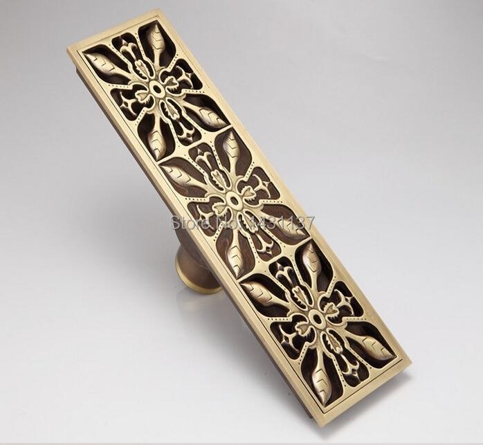 Europe Style Antique Brass Art Carved Brass Floor Drain Cover Shower Waste Drainer bathroom accessories<br><br>Aliexpress