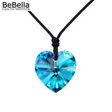5 colors heart pendant rope necklace made with Crystals from Swarovski 6228 heart pendant without clasp for women's gift