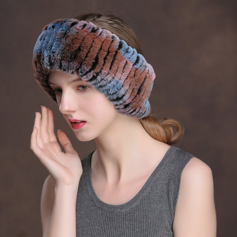 Winter Fur Headbands For Women Knitted Rex Rabbit Fur Scarf Hats Natural Fur Ring hairband Neckwarmer female (7)