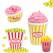 13CM Kawaii Squishy Jumbo Pop Corn Slow Rising Phone Straps Charms Cream Scented Pendant Food Cake Bread Kid Toy Fun Gift(China)