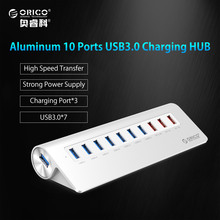 ORICO 10 Ports Super Speed USB HUB 7 Ports USB3.0 5Gbps & 3 Ports USB Charging for iPhone iPad Vl812 Chip-Silver(M3H73P)(China)