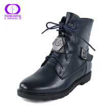 Fashion Martin Boots Cutout Buckle Boot  PU Leather Ankle Boots Women Casual Leather Women Shoes Buckle Warm Women Ankle Boots