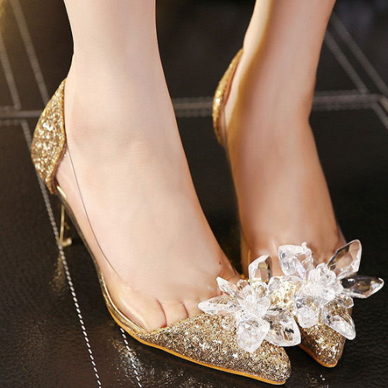 SexeMara Women Pumps Glittering Fashion Sexy Party High Heel Summer Women Pumps Wedding Shoes Lady Pump 7.5cm Heel Party Pumps<br>