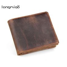 longmiao High Quality Genuine Leather Man Short Retro Wallets Handmade Vintage Crazy Horse Cowhide Leather Men Small Wallet