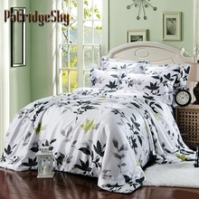 3/4PC Faux Silk Leaf Oil Painting Style Luxury Bedding Set Duvet Cover Set Bed Cover Bed linen Queen King Black White
