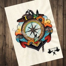 "Vintage Tattoos Patterned Kraft Paper about ""Colorful clock"" Wall art living room wall decoration home decor painting HM-152"
