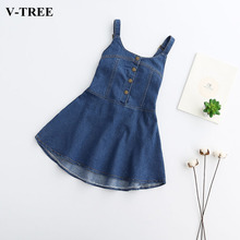 V-TREE Denim Dress For Girls 2017 Summer New Girl Strap Denim Dress Girls Dress Children's Costume Kids Clothes
