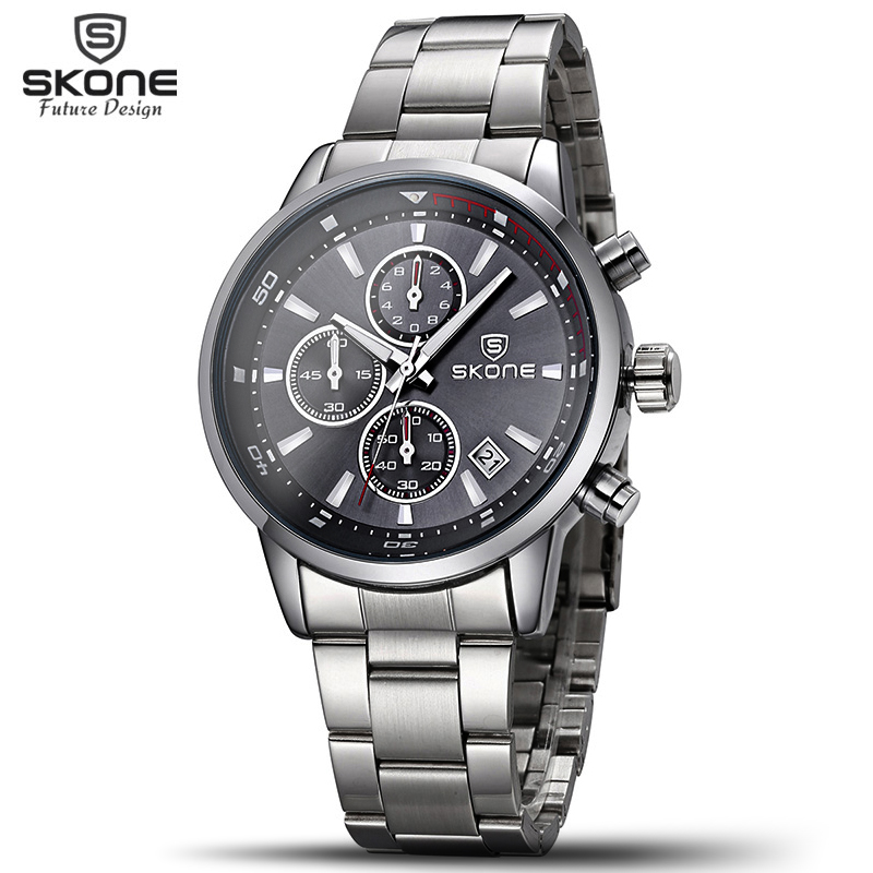 SKONE 6 Hands Fashion Clock Mens Watches Top Brand Luxury Multifunction Watches For Male Stainless Steel Wristwatch Chronograph<br>