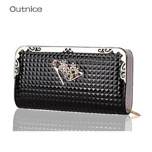 OUTNICE Luxury Wallets Women Clutch Purse Metal Frame High Quality PU Leather With 10 Bit Credit Card Holder portefeuille femme