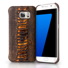 QIALINO Real Leather Special Ostrich Leg Texture Case for Samsung Galaxy S7/ S7 edge Top Layer leather Case for Samsung S7 cover