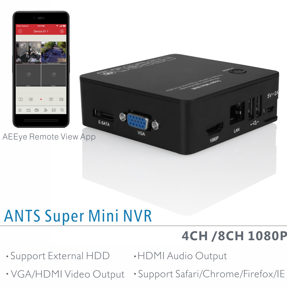 ANTSTEK Palm Size 4CH/8CH 1080P Super Mini NVR For 2MP Resolution Onvif IP Cameras with E-SATA Port, HDMI Vidoe and Audio Output<br>
