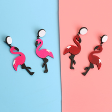 1Pair Cute Animal Flamingo Earrings Women Acrylic Seabird Drop Dangle Ear Stud Lady Party Jewelry Accessories(China)