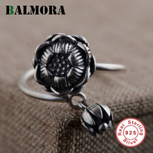 BALMORA 2 Colors 925 Sterling Silver Jewelry Vintage Flower Finger Rings for Women Lover Gifts Resizable Ring Bijoux SY21346(China)