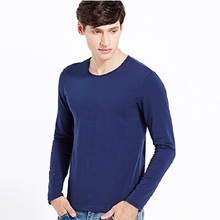 2017 Autumn Winter Men T shirt Long Sleeve male long johns cotton T shirt White Blue Gray Black S M L XL XXL 3XL 4XL 5XL(China)