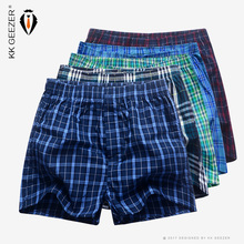 Mens Underwear Boxers Shorts Casual Cotton Sleep Underpants High Quality Brands Plaid Loose Comfortable Homewear Striped Panties(China)