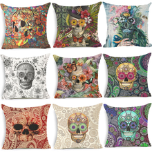 Homing Punk Cushion Covers for Sofa Throw Pillow Cover Decorative Pillow Case Skull Cushion Cover Cotton Linen Square Throw