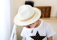Baby Girls Boys Straw Wide Brim Sun Hat Cool Kids Summer Western Cowboy Hat One Size Cap 6 Colors