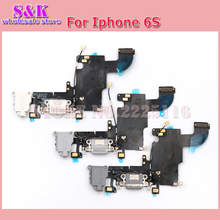 SHAMKELLY 10 pcs/lot Free shipping charging port charger dock connector with headphone mic antenna flex cable for iphone 6s(China)