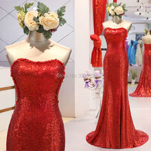 Real Sample Photo Pearls Beaded Side Cutout Mermaid Sparkly Red Sequin Prom Dresses Long Formal Evening Gown