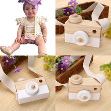 Baby Kids Cute Wooden Toy Camera Creative Neck Hanging Camera Photography Prop Decoration Children Playing House Decor Toy(China)