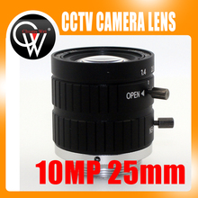 10MP 25mm HD Industrial Camera Fixed Manual IRIS Focus Zoom Lens C Mount CCTV Lens for CCTV Camera or Industrial Microscope