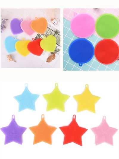 Durable Dish Washing Scrubber Antibacterial Kitchen Cleaning Tools Reusable Food Grade Silicone Sponge Star Shape Brush