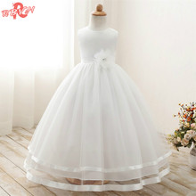 Elegant White Flower Girl Long Evening Dress Baby Girl Christening Gown Children's Princess Costume For Teen Girl Wedding Dress
