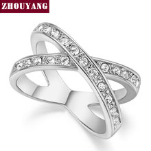 Top Quality ZYR112 Elegant Concise Crystal Cross Ring Silver Color Austrian Crystals Full Sizes Wholesale