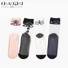 CHAOZHU Factory Wholesale Summer Thin Clear Sheer Crystal Socks Bow Tie Dots Girls Cute Fashion Splicing Sock Women Summer Sock(China)