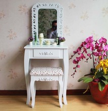 Queen Anne White Make Up Table Dresser Vanity Set Swivel Oval Mirror with Stool Wood Dresser With Dressing Table(China)