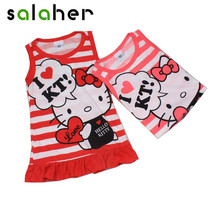 Lovely Minnie Hello Kitty Baby Girl Dress 2017 Summer Children Sleeveless Red Pink Color Girls Dresses Kids Princess Dress(China)