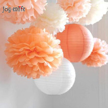 JOY-ENLIFE 5pcs 30cm(12inch) Tissue Paper Pom Poms  Flower Ball Honeycomb Lantern Wedding Decoration Home Christmas Decors