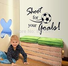Shoot For Your Goal Letter Football Sport Wall Decals Wallpaper Kids Wall Stickers Children Room Decor Size45*60CM FREE SHIPPING