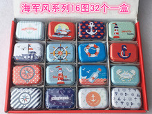 Free ship!1 lot=32pc!the Navy style Mini cover Iron tin case / can/ pencil box / small Kit/candy storage gift box(China)
