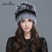 ZIRUNKING Women Warm Genuine Fur Hats Rex Rabbit Winter Fur Caps Female Quality Casual Beanies ZH1605(China)