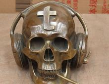 free shipping Folk Chinese Bronze skeleton death's-Head Skull Head Earphone Art Statue