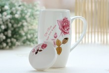720ML, chinoiserie bone china flower painting, present creative, thermo cup coffee, mighty tazas cafe tea taza tea mug, with lid