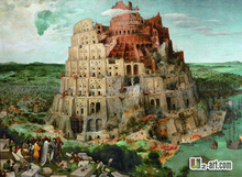Tower of babel by famous artist canvas prints of meaningful paint reproduction hang int the office room(China)
