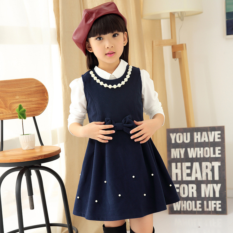 Anlencool 2017 baby girls dresses wholesale new fall and winter clothes big virgin girls dress  The New Children child dress<br><br>Aliexpress