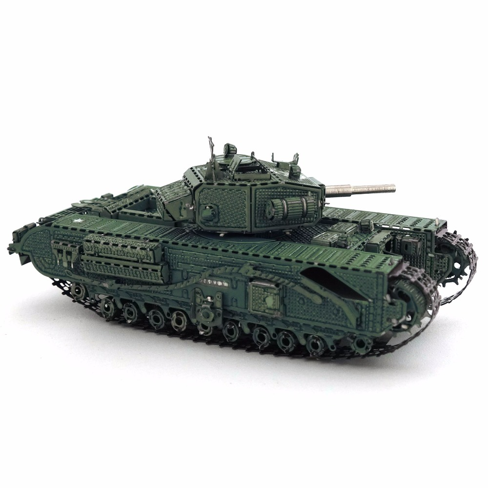 Color Churchill Tank 3D DIY Stereoscopic Metal Puzzle Nano-dimensional Assembling Model Birthday Gift Decoration Collection Toy 5