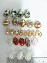 Mixed Moretti glass oval beads with holes, fused beads with gold colour foil inside, stained glass beads, idea for decoration